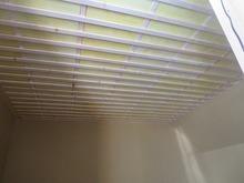 防音壁ができあがりました。 天井の遮音補強です。天井は遮音だけでなく吸音するようにつくります。