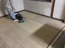 コンクリートが乾いた後に木工事が始まりました。 床のレベルを合わせる作業を行いました。