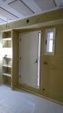 防音室側の壁と天井もできあがりました。 木工事が完了です。クロス施工前に音テストを行いました。