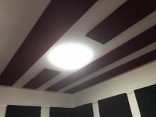 天井と壁に吸音パネルを設置し、響きのないお部屋に仕上げています。