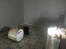 木工事完了後に音テストを行いました。