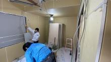 第1遮音壁と天井が出来上がりました。 腰窓は埋めて壁にしてしまいます。