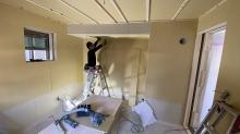 防音室の壁と天井が出来上がりってきました。