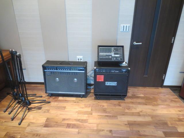 ギターアンプ、ベースアンプ、PAシステムもバッチリです。